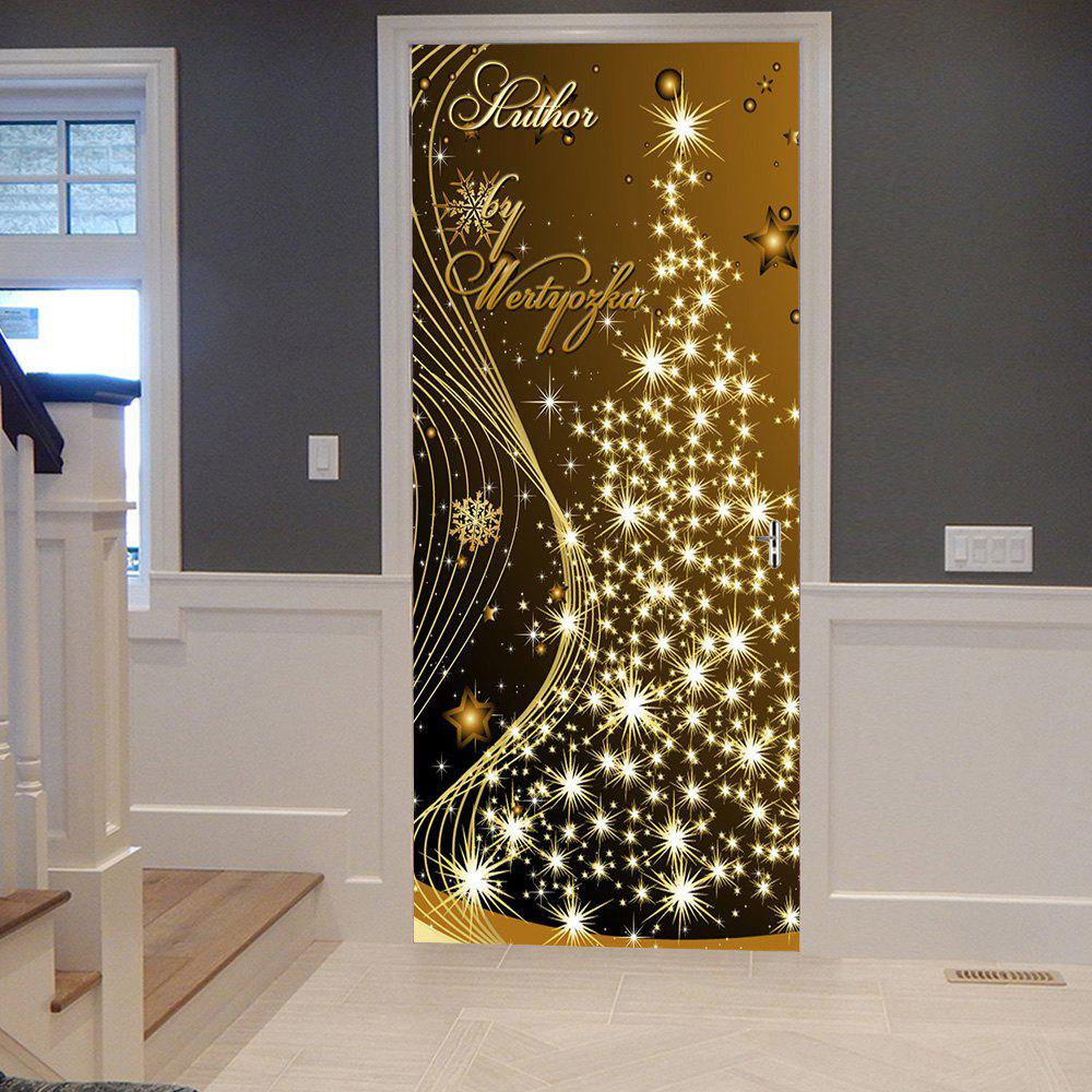 Christmas Starlight Tree Pattern Door Stickers - GOLD BROWN 38.5*200CM*2PCS