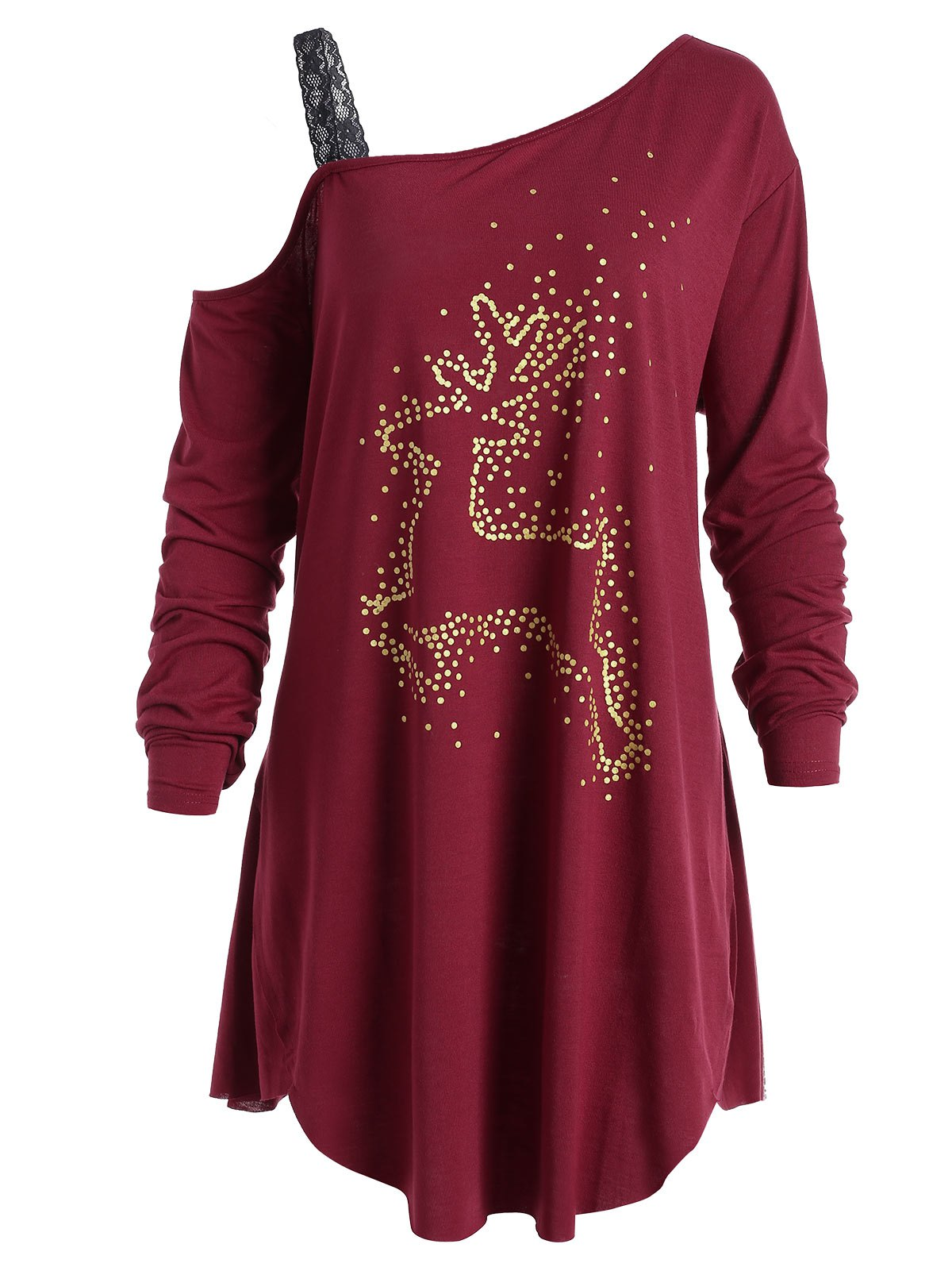 Plus Size Christmas Reindeer Long Sleeve Tunic T-Shirt plus size christmas reindeer skew collar sweatshirt