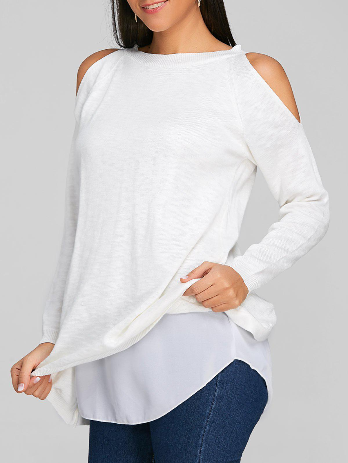 Chiffon Insert Cold Shoulder Tunic Knitwear stretchy cold shoulder slimming knitwear