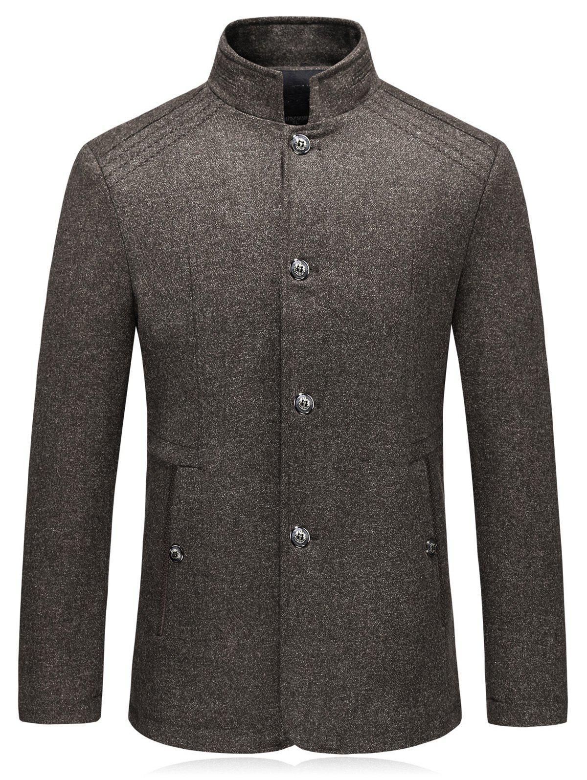 Blazer en laine simple boutonnage - Café Clair 2XL