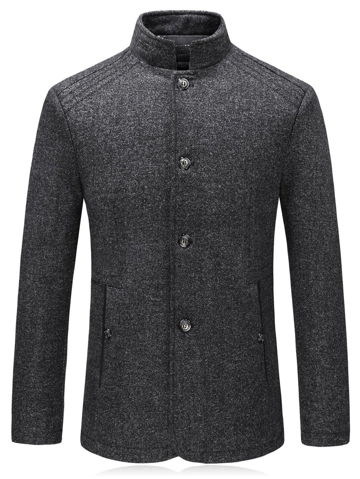 Padded Single Breasted Woolen Blazer - DEEP GRAY XL