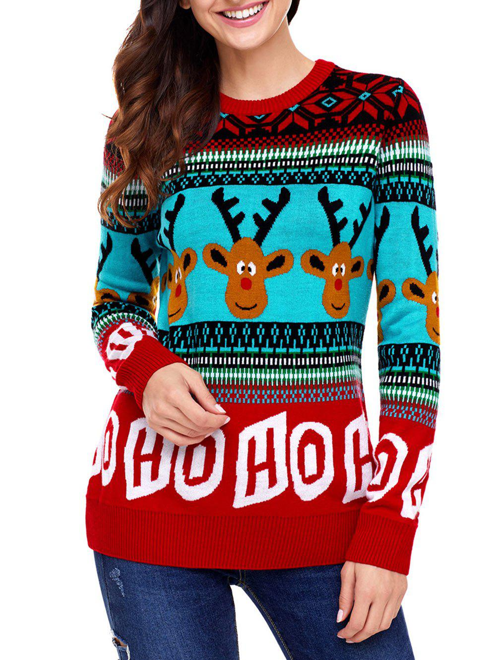 Christmas Letter and Deer Jacquard Sweater christmas letter and deer jacquard sweater