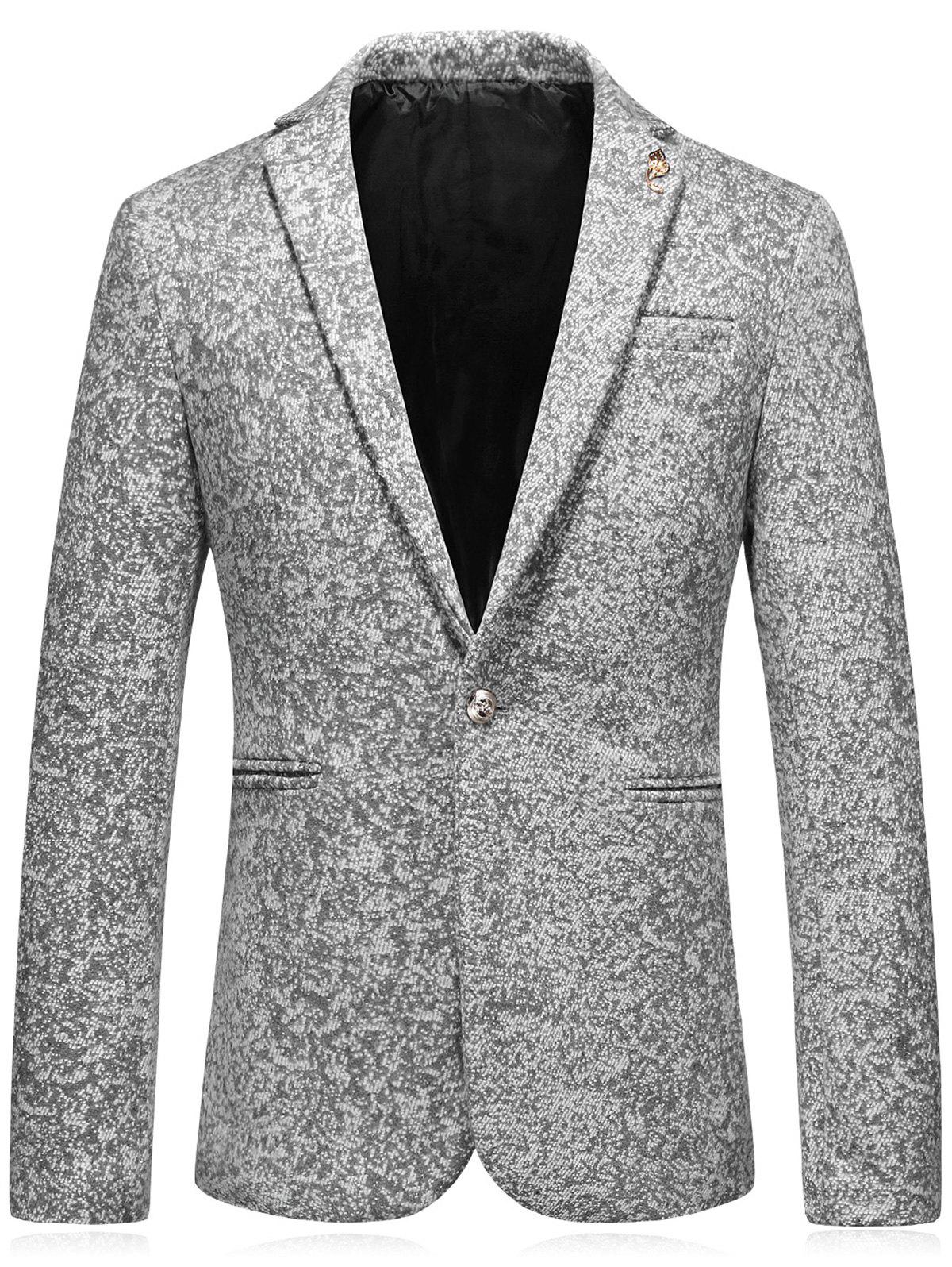 Edging Leaf Embellished Woolen Blazer - GRAY 3XL