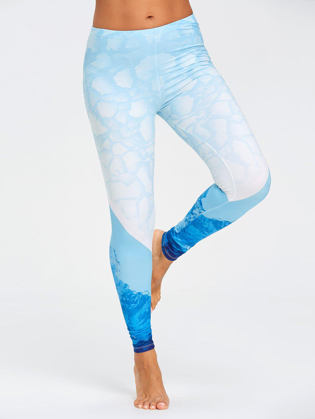 Stretch Sea Ombre Print Leggings - BLUE L