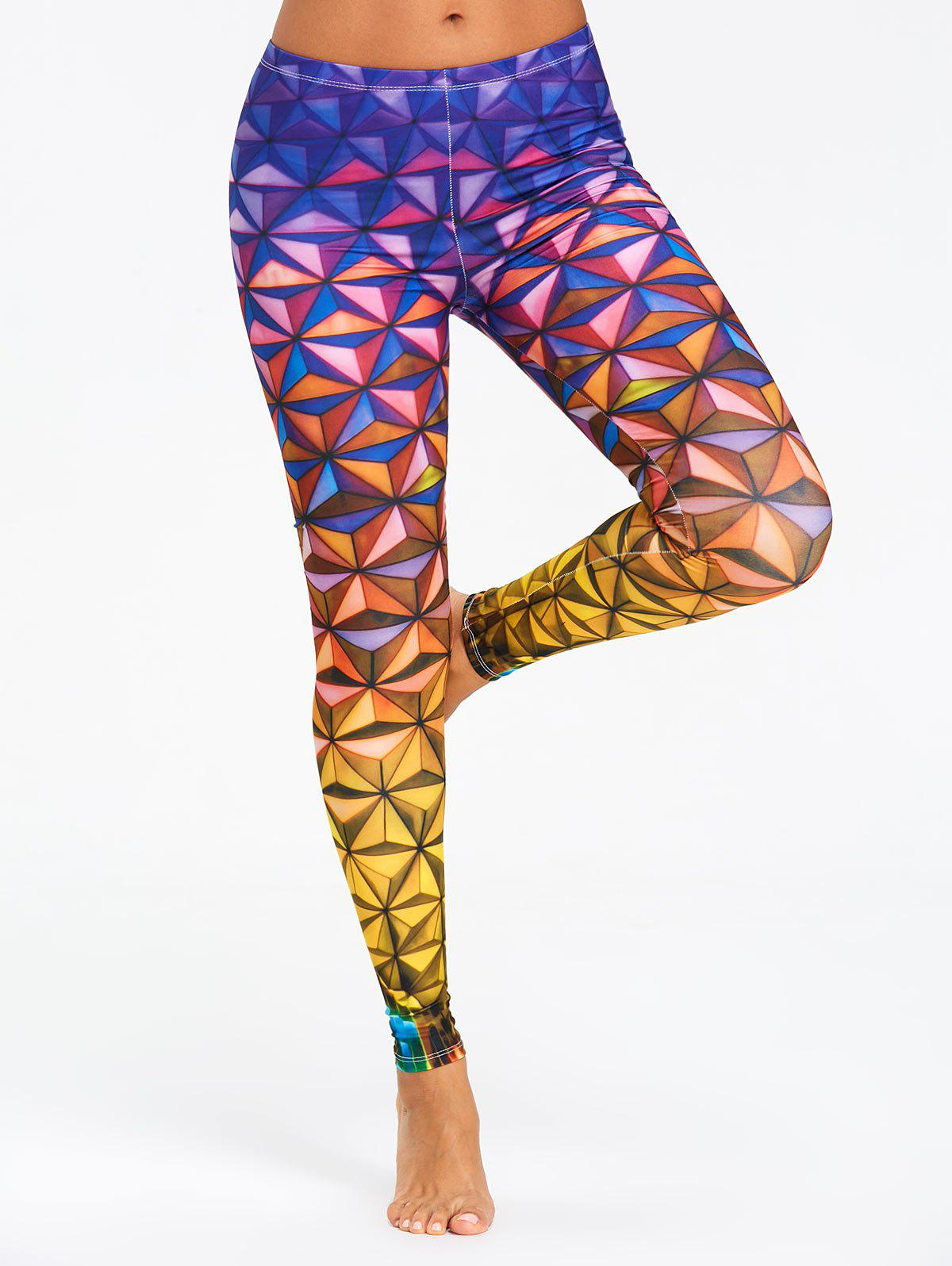 Geometric 3D Print Ombre Sports Leggings - COLORMIX M