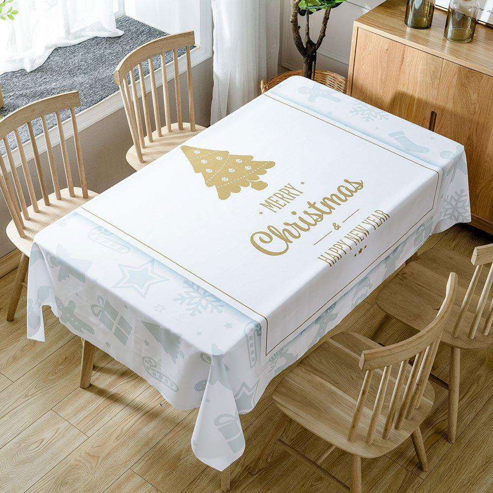 Christmas Theme Greetings Print Waterproof Tablecloth - WHITE W54 INCH * L72 INCH
