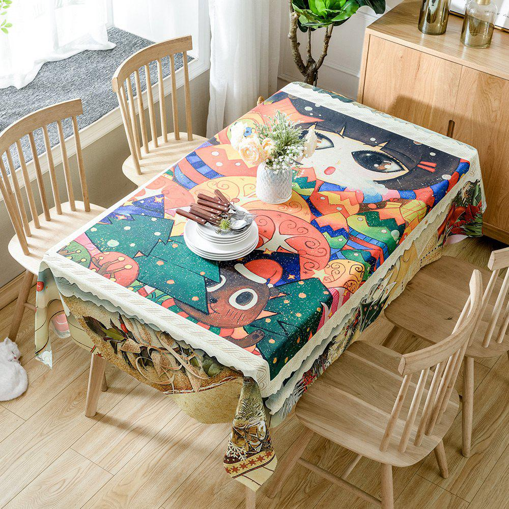 Christmas Cartoon Forest Print Waterproof Tablecloth - COLORMIX W54 INCH * L54 INCH