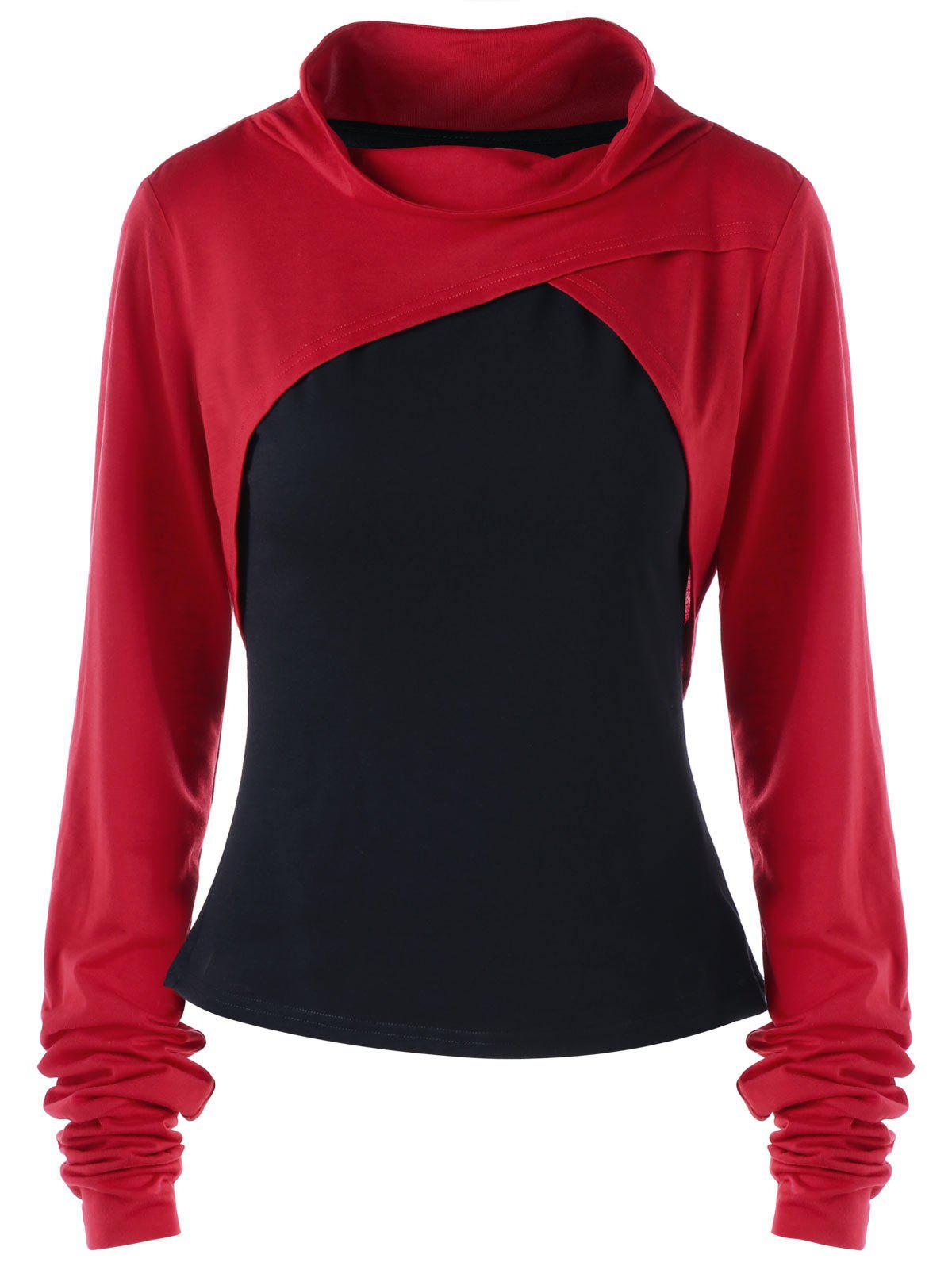 Plus Size Two Tone Thumb Hole Top - RED/BLACK 5XL
