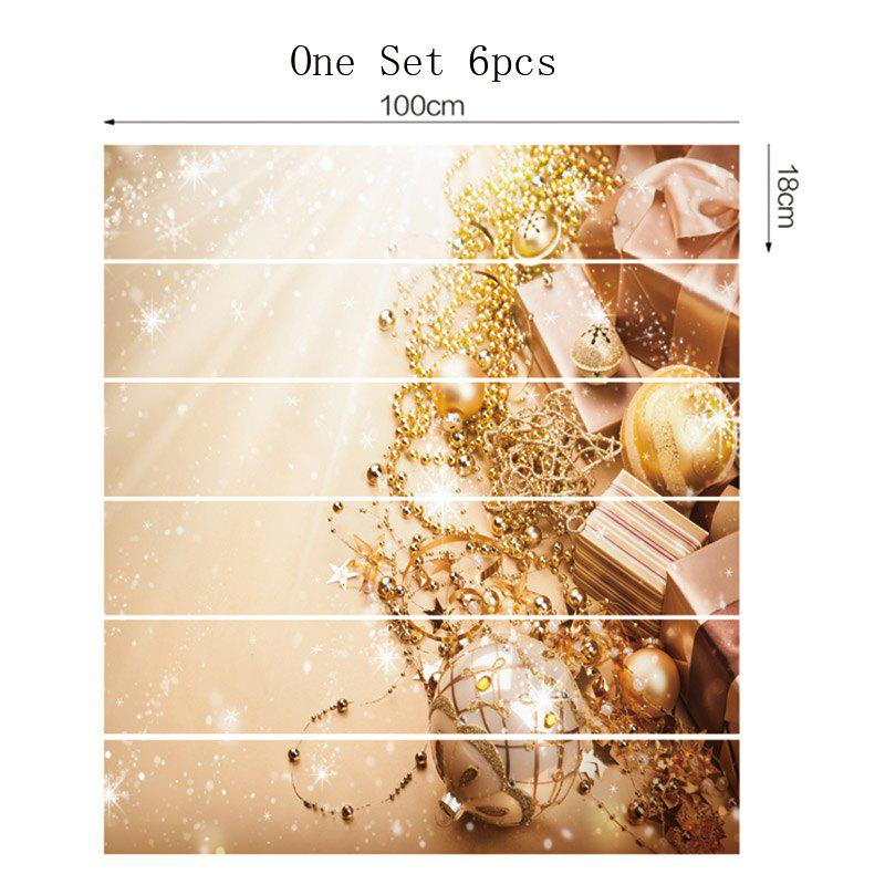 6 Pieces Party Ornaments Pattern Home Stair Stickers - GOLDEN 100*18CM*6PCS