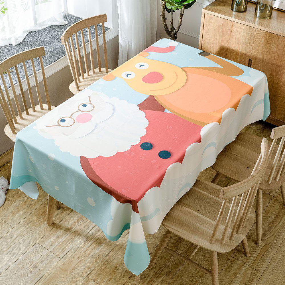 Christmas Santa Deer Print Waterproof Tablecloth - COLORMIX W54 INCH * L54 INCH