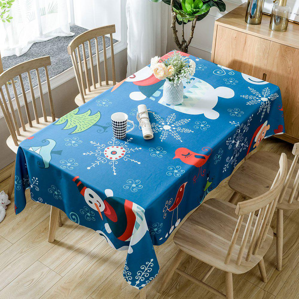 Christmas Snowmen Birds Print Waterproof Tablecloth - COLORMIX W54 INCH * L72 INCH