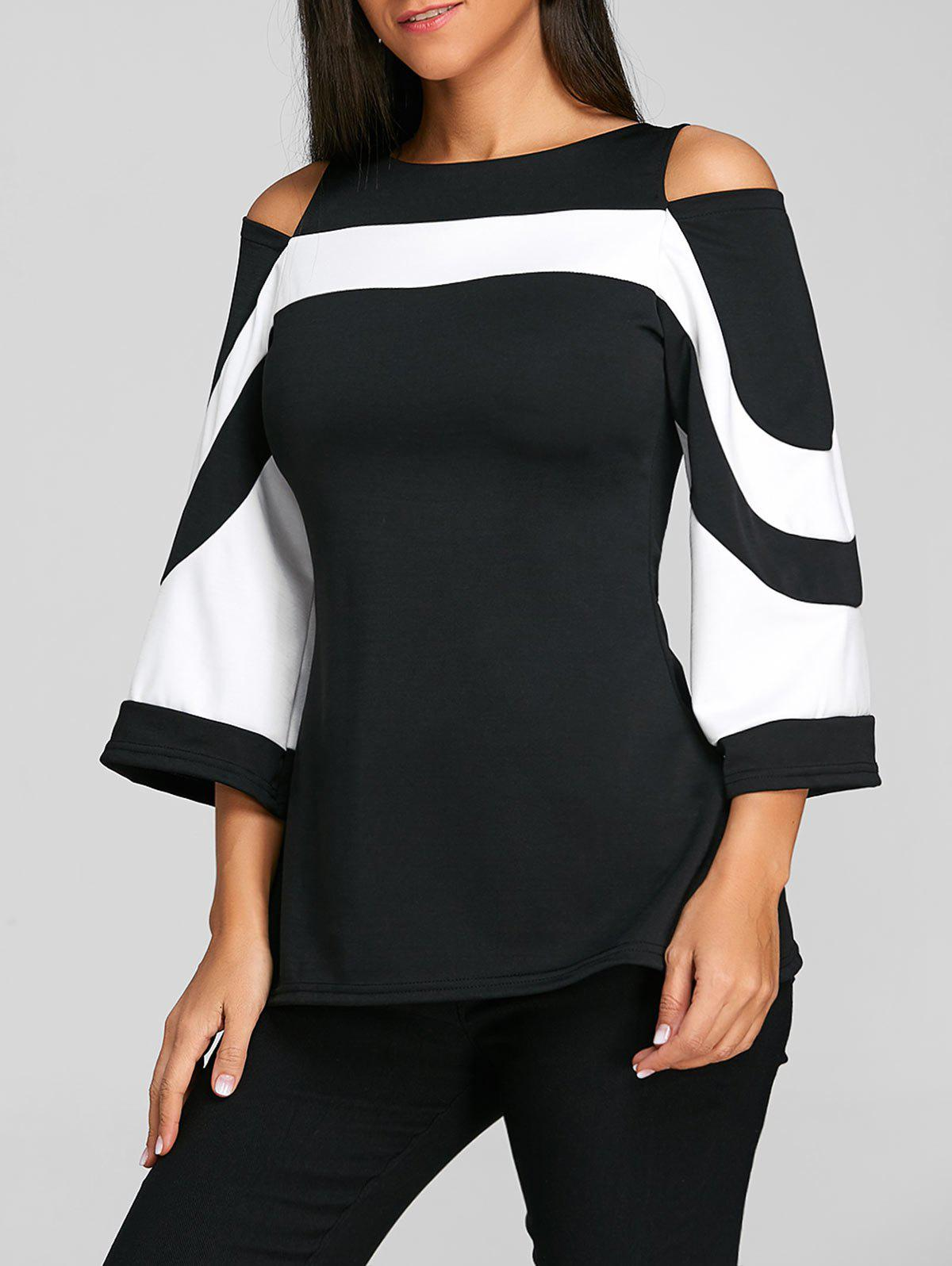 Cold Shoulder Two Tone Blouse - BLACK XL