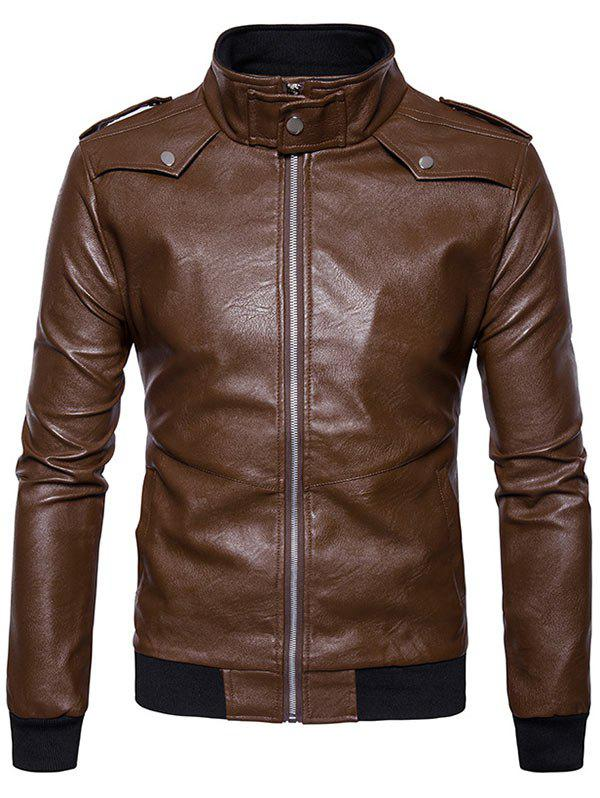 Epaulet Zip Up Faux Leather Bomber Jacket - COFFEE 2XL