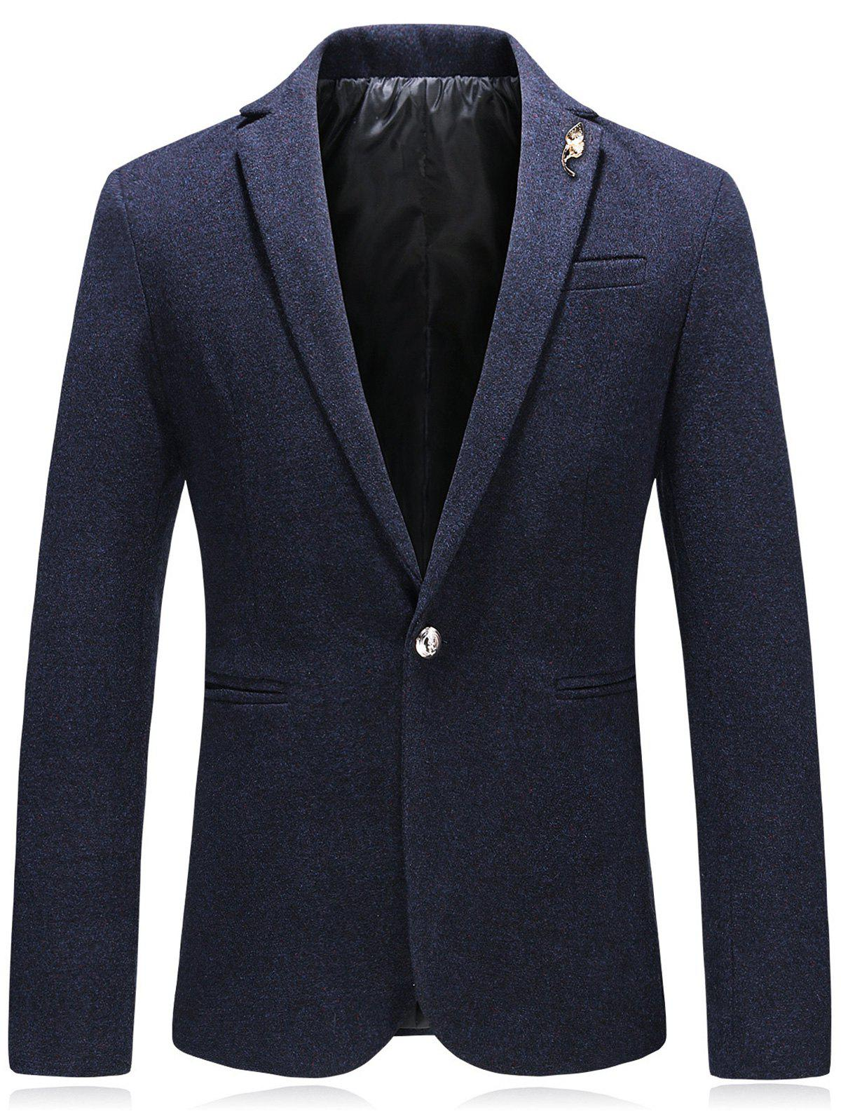 Embellished Edging Woolen Blazer - DEEP BLUE 3XL