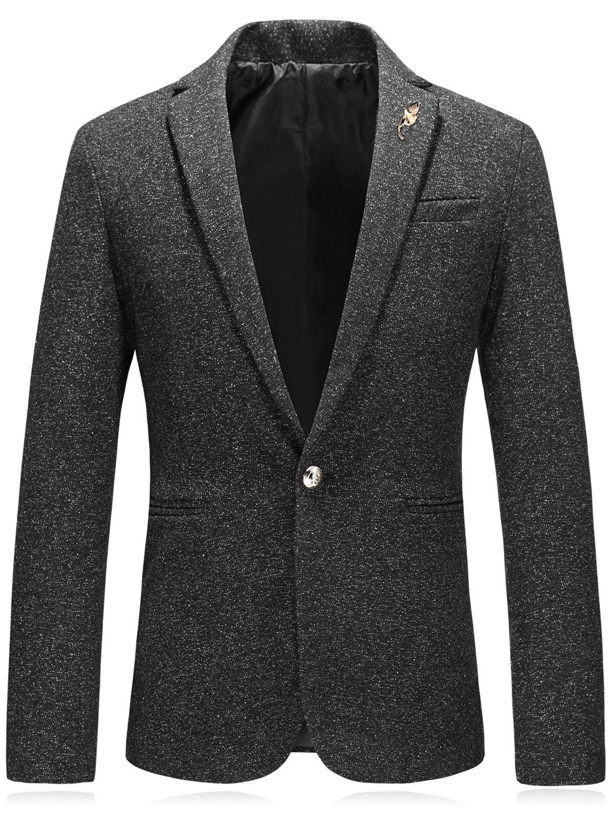 Embellished Edging Woolen Blazer - DEEP GRAY 2XL
