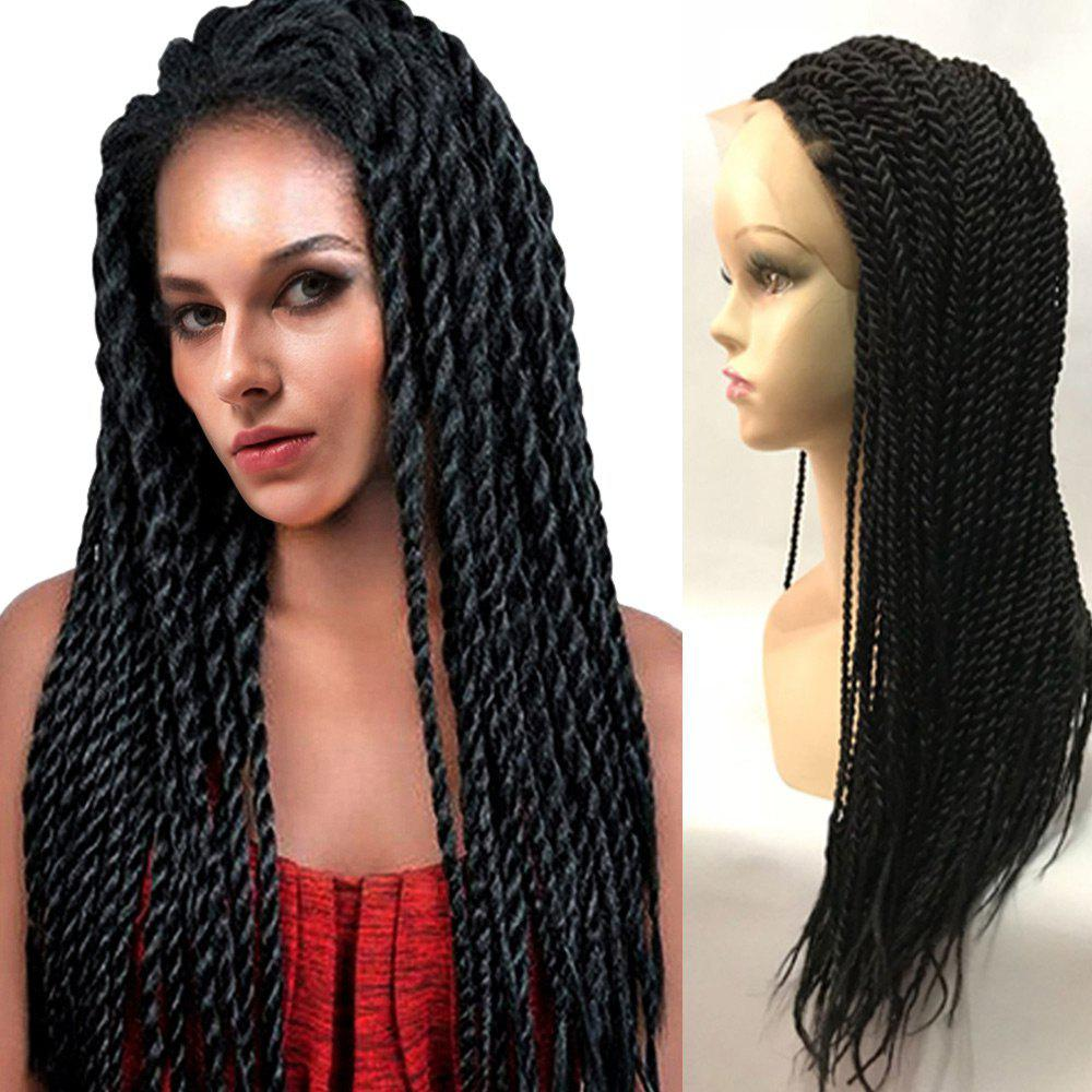 Long Twisted Braids Synthetic Lace Front Wig medium long wavy heat resistant fiber hair white lace front synthetic wig