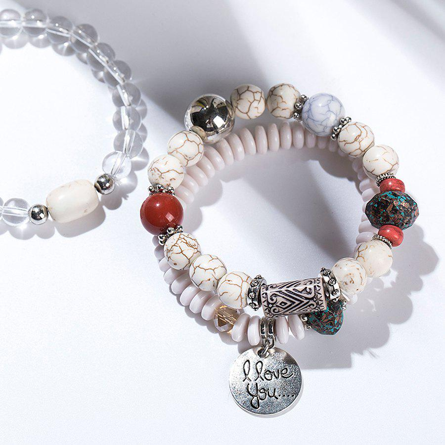 Artificial Crystal I Love You Beaded Bracelet Set - WHITE