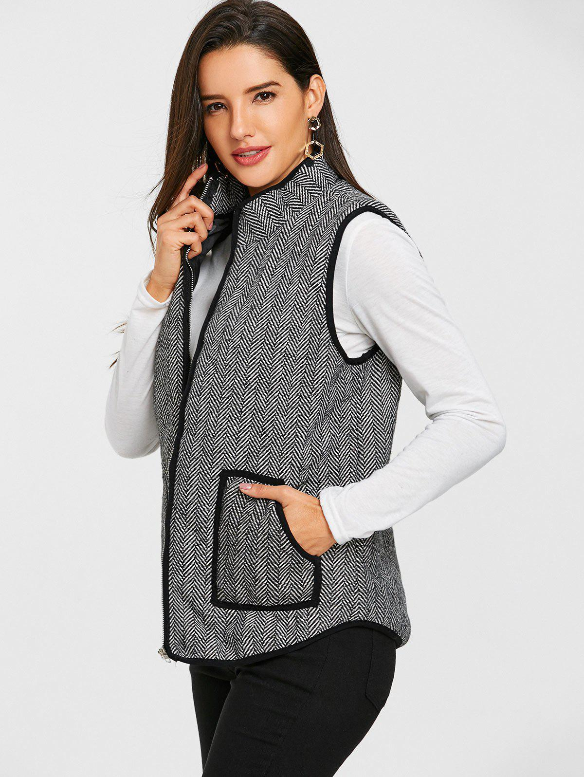 Tweed Zip Up Gilet matelassé - Noir 2XL