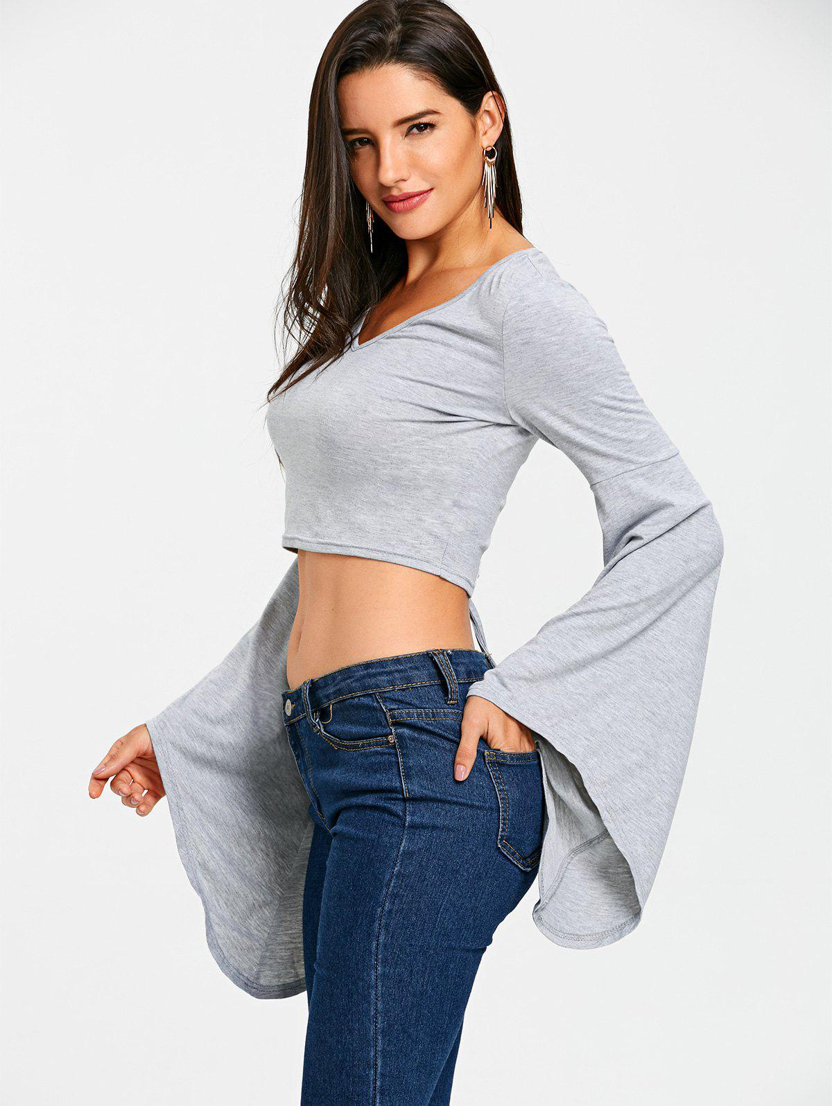 Lace Up Bell Sleeve Crop Top - GRAY 2XL