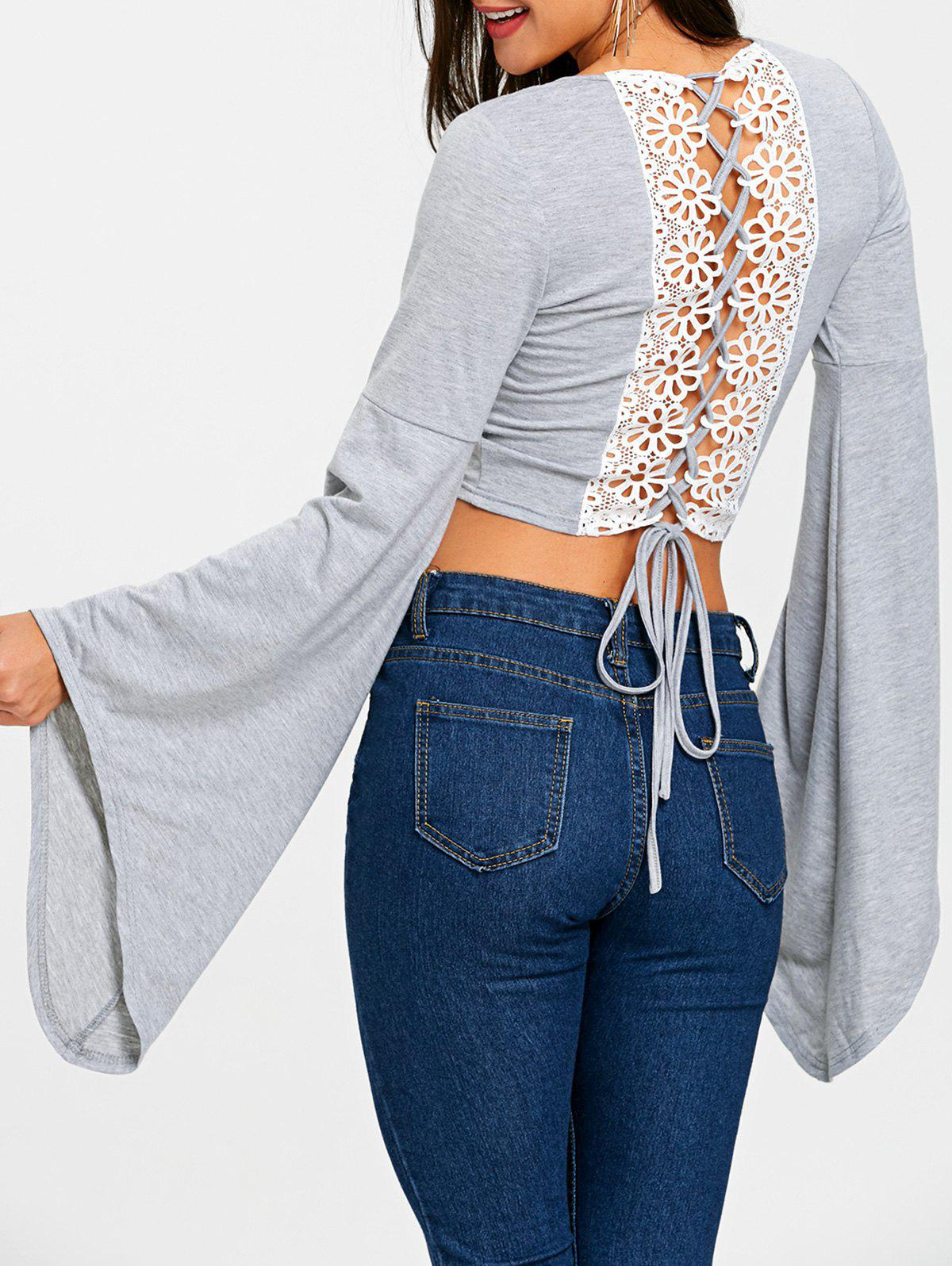 Lace Up Bell Sleeve Crop Top - GRAY M