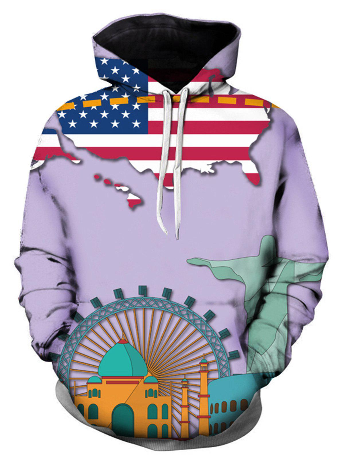 3D USA Cartoon Printed Pullover Hoodie цена 2017