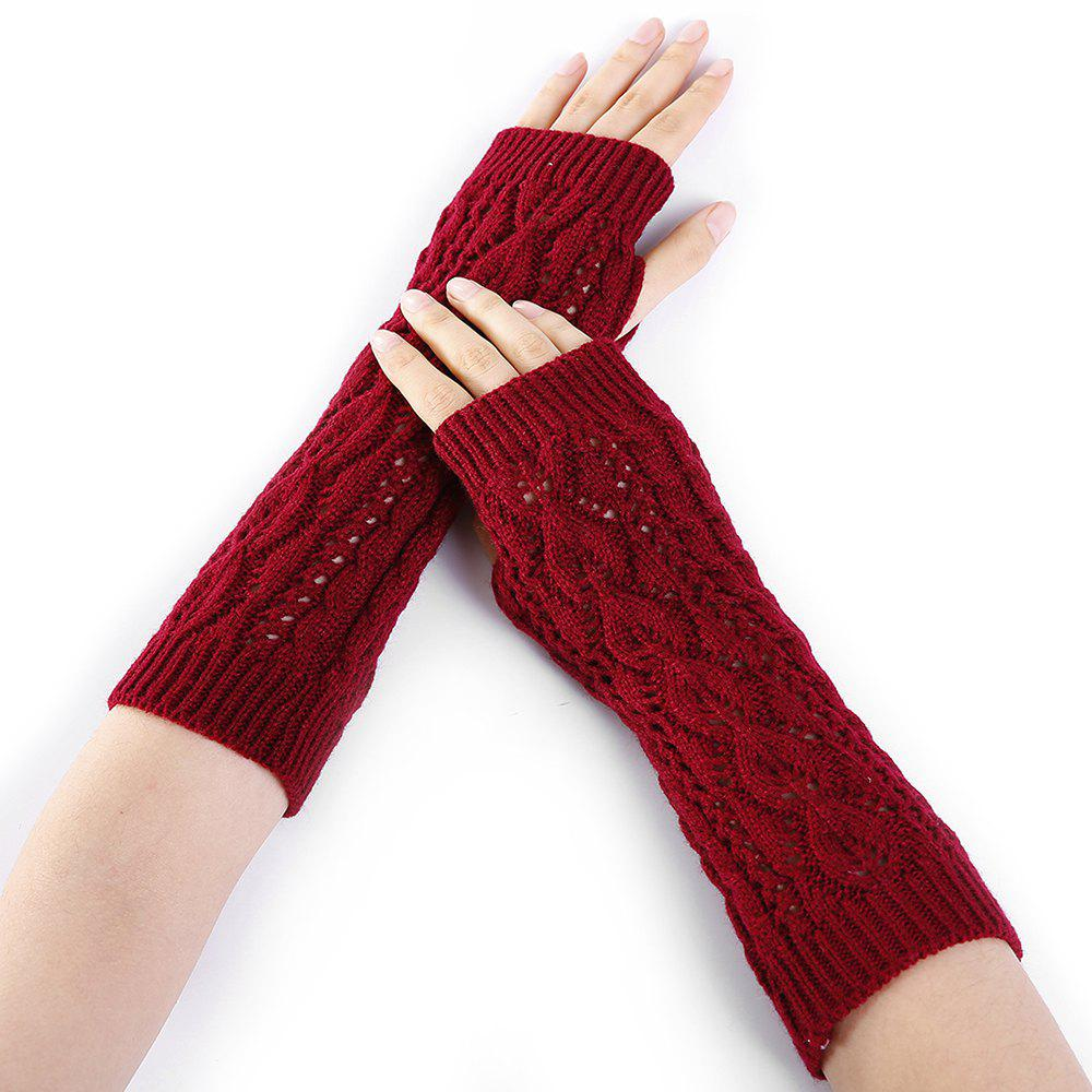 2018 Tree Branch Pattern Hollow Out Fingerless Arm Warmers Red In