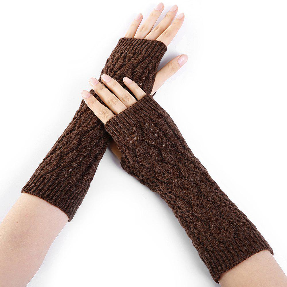 Tree Branch Pattern Hollow Out Fingerless Arm Warmers - COFFEE