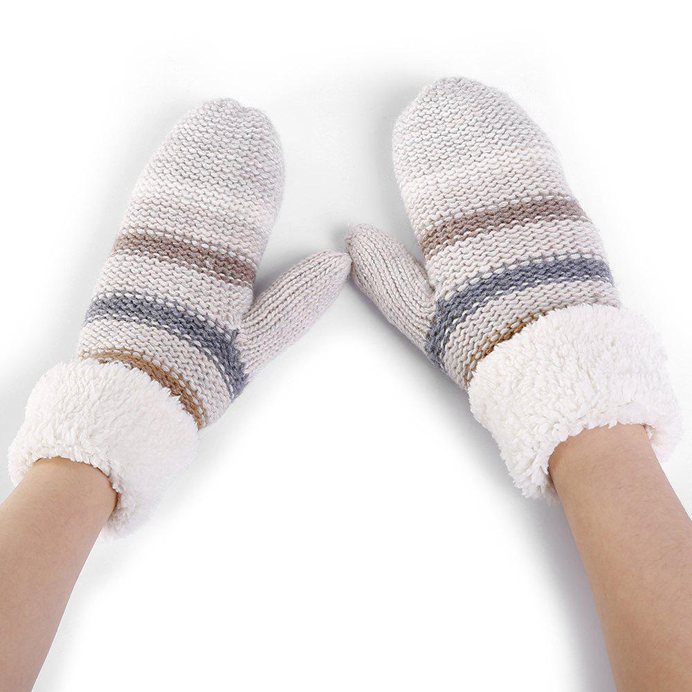 Striped Pattern Embellished Colormix Knitted Gloves - BEIGE