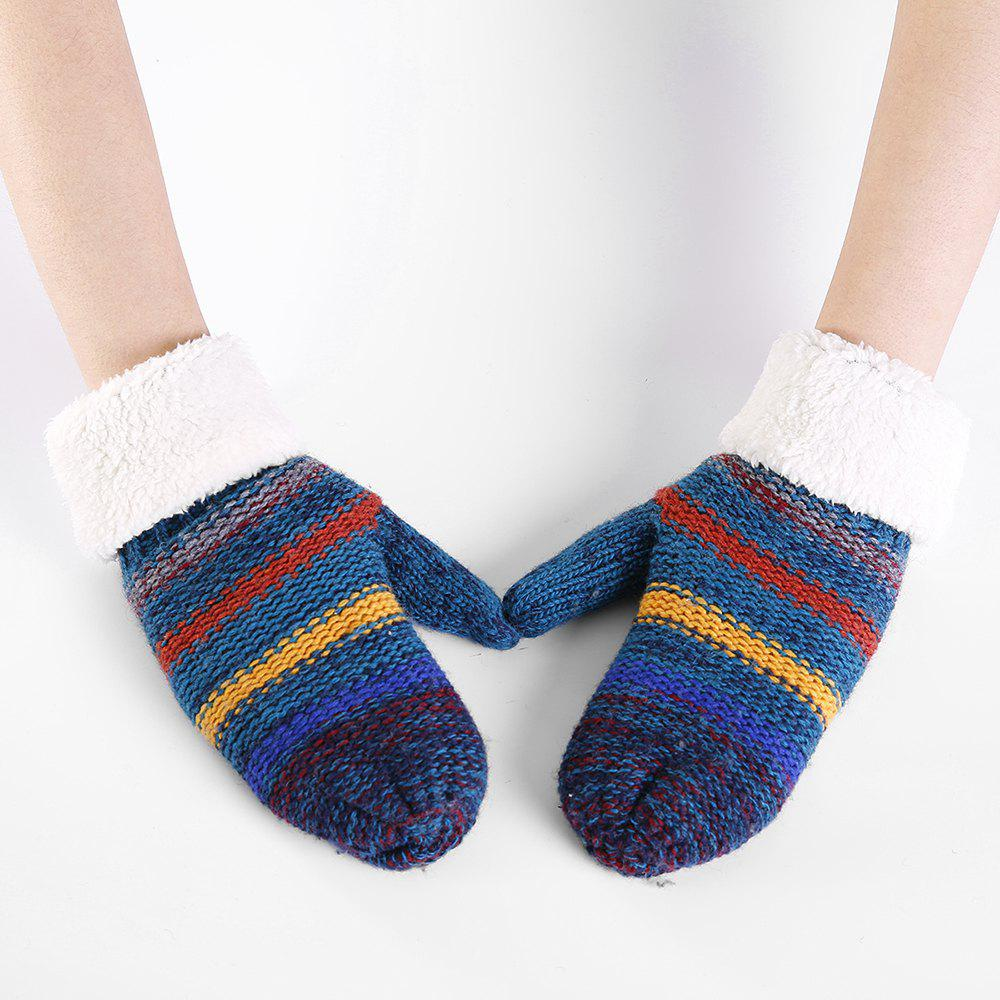 Striped Pattern Embellished Colormix Knitted Gloves - BLUE