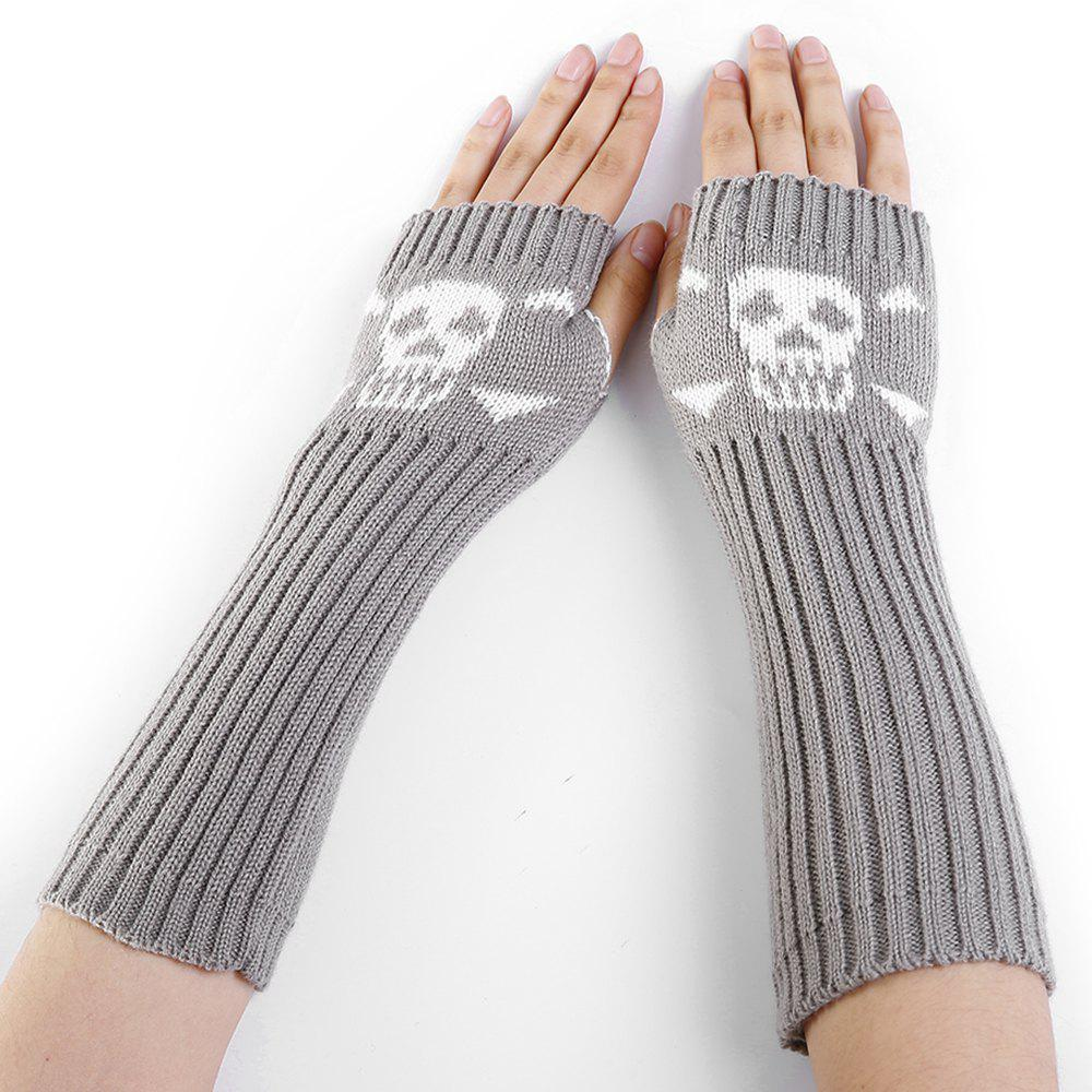 2018 Funny Skull Pattern Crochet Knitted Fingerless Arm Warmers ...