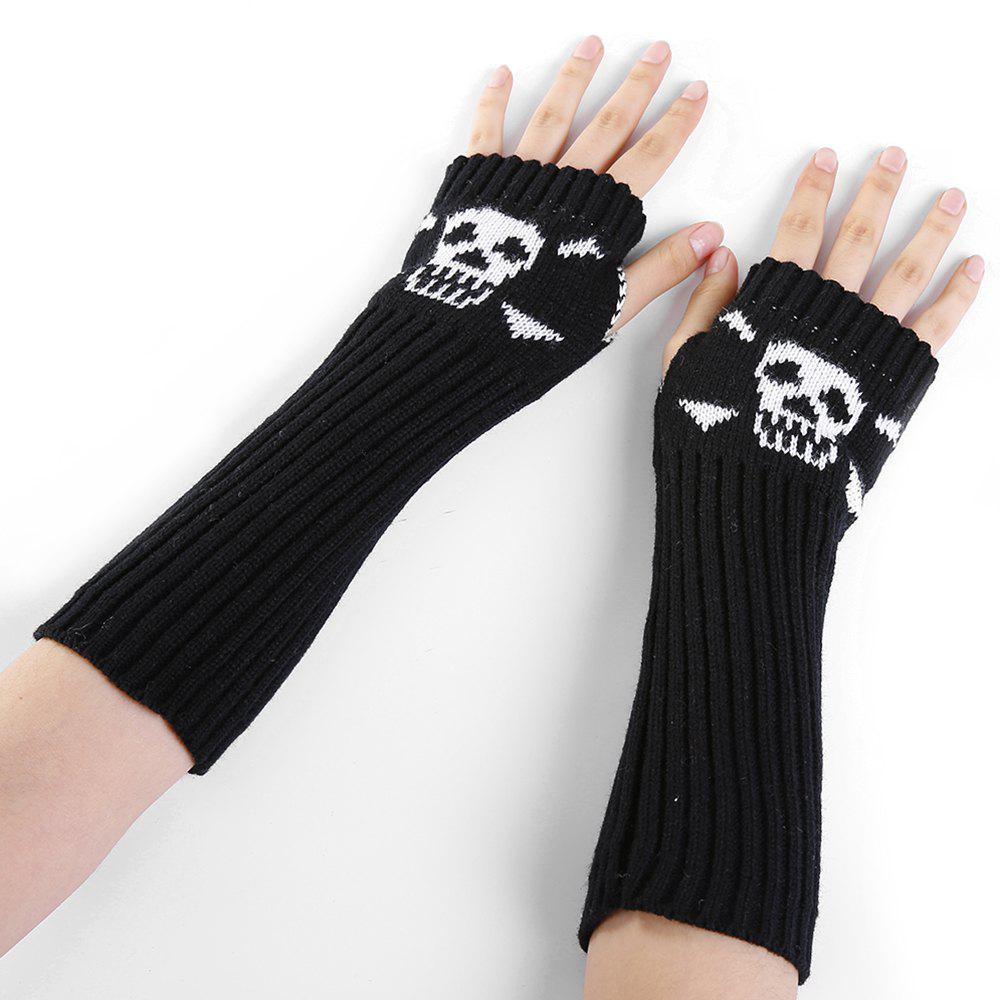 Funny Skull Pattern Crochet Knitted Fingerless Arm Warmers - BLACK