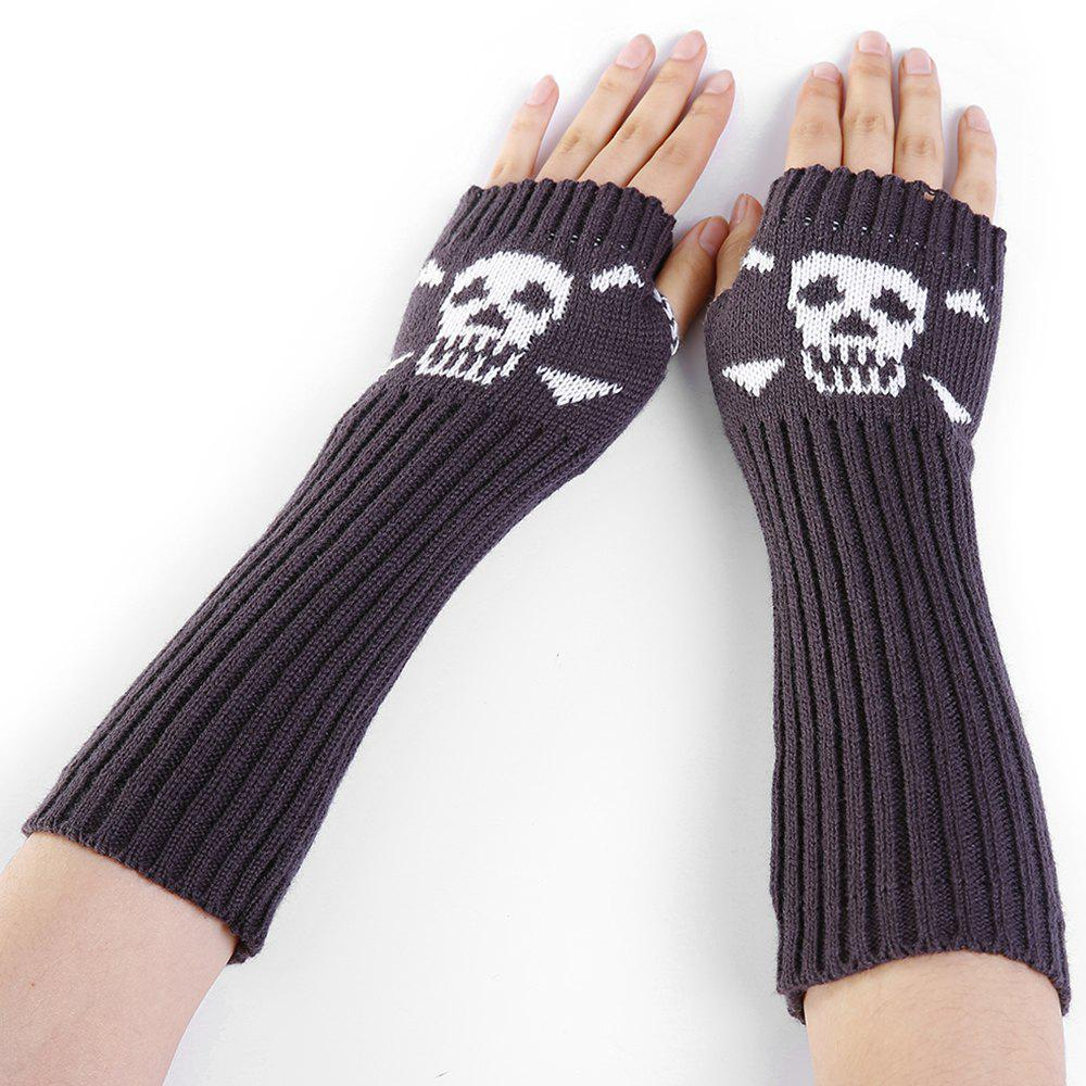 2018 Funny Skull Pattern Crochet Knitted Fingerless Arm Warmers DEEP ...