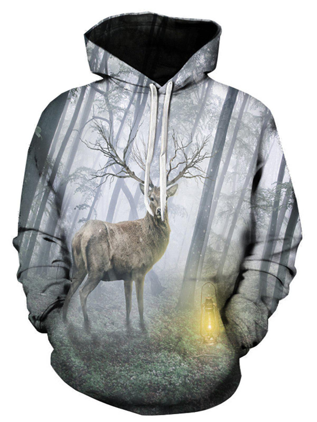 Forest Deer 3D Print Pullover Hoodie forest management