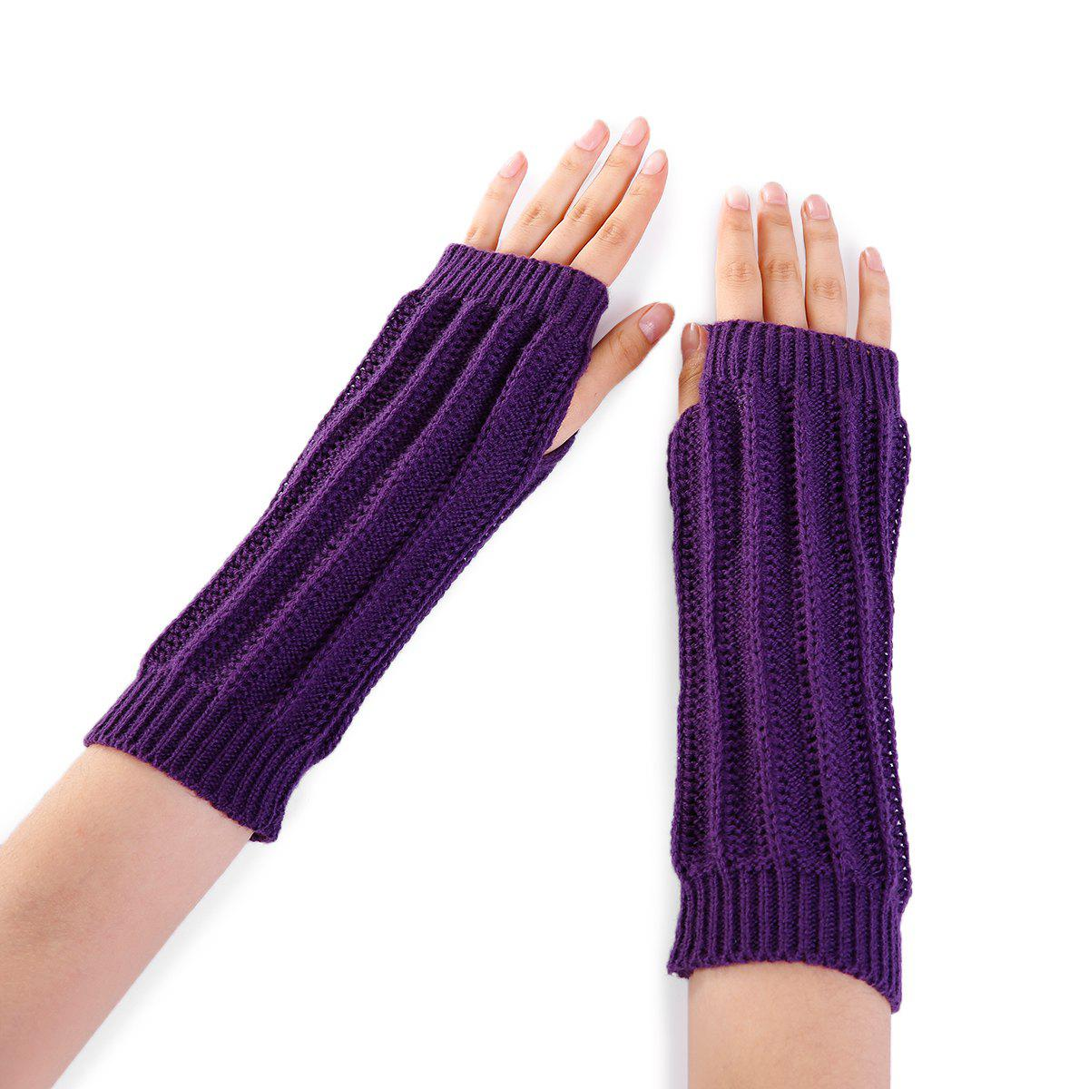 Stripe Pattern Hollow Out Decorated Crochet Knit Arm Warmers - PURPLE
