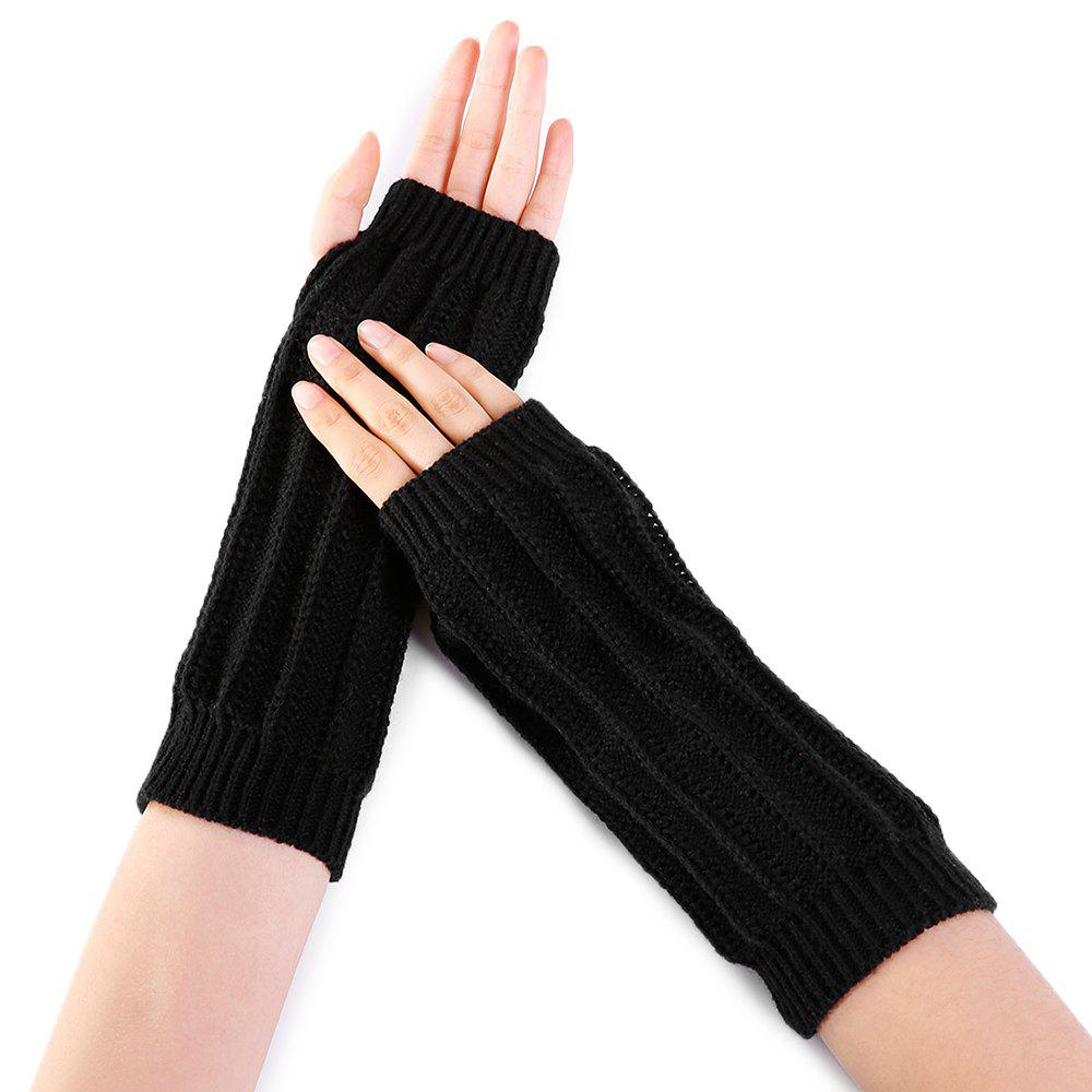 Stripe Pattern Hollow Out Decorated Crochet Knit Arm Warmers - BLACK