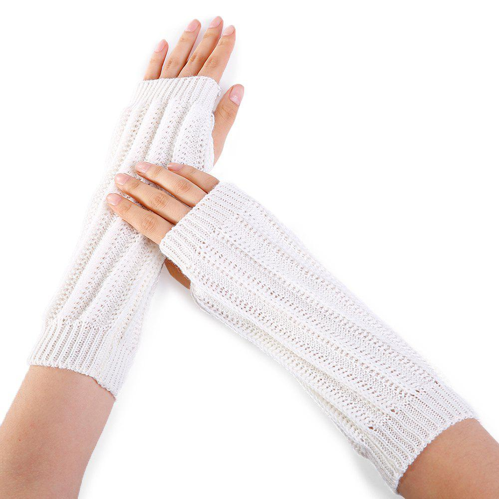 Stripe Pattern Hollow Out Decorated Crochet Knit Arm Warmers - WHITE