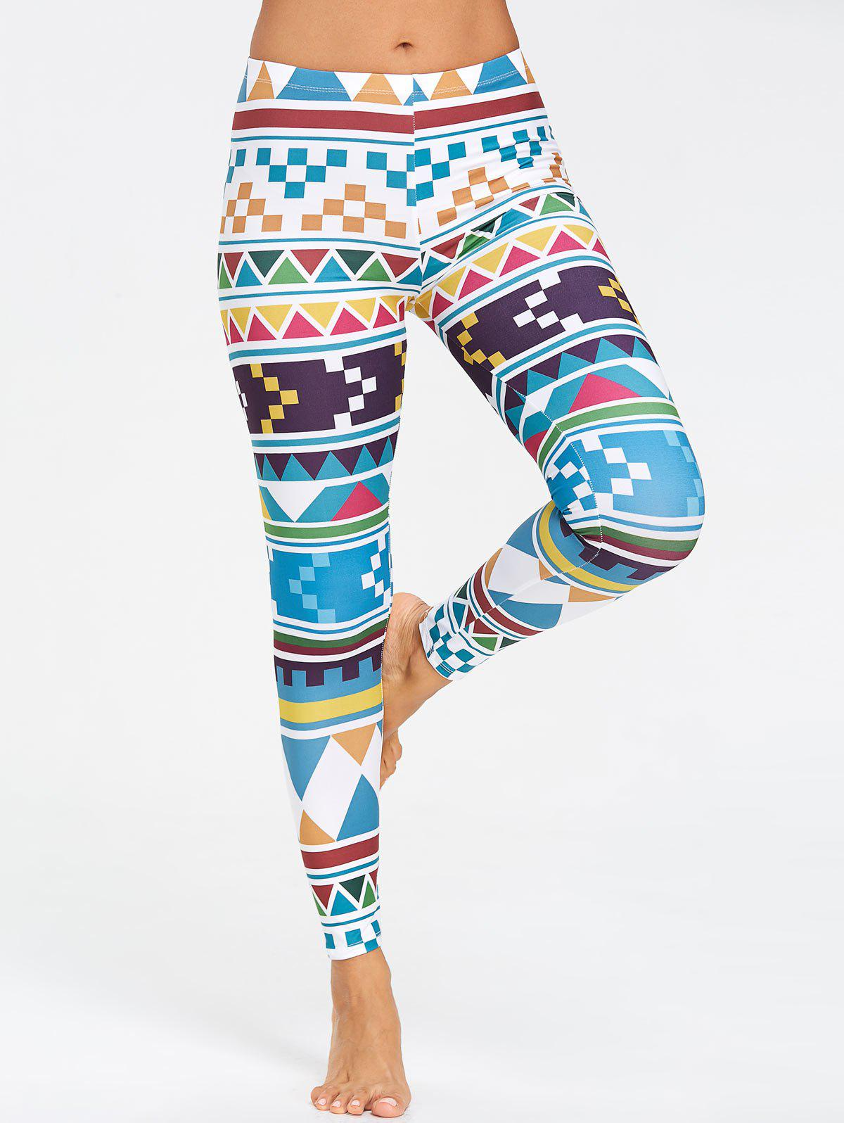 Cute Geometric Pattern Yoga Leggings - COLORFUL S