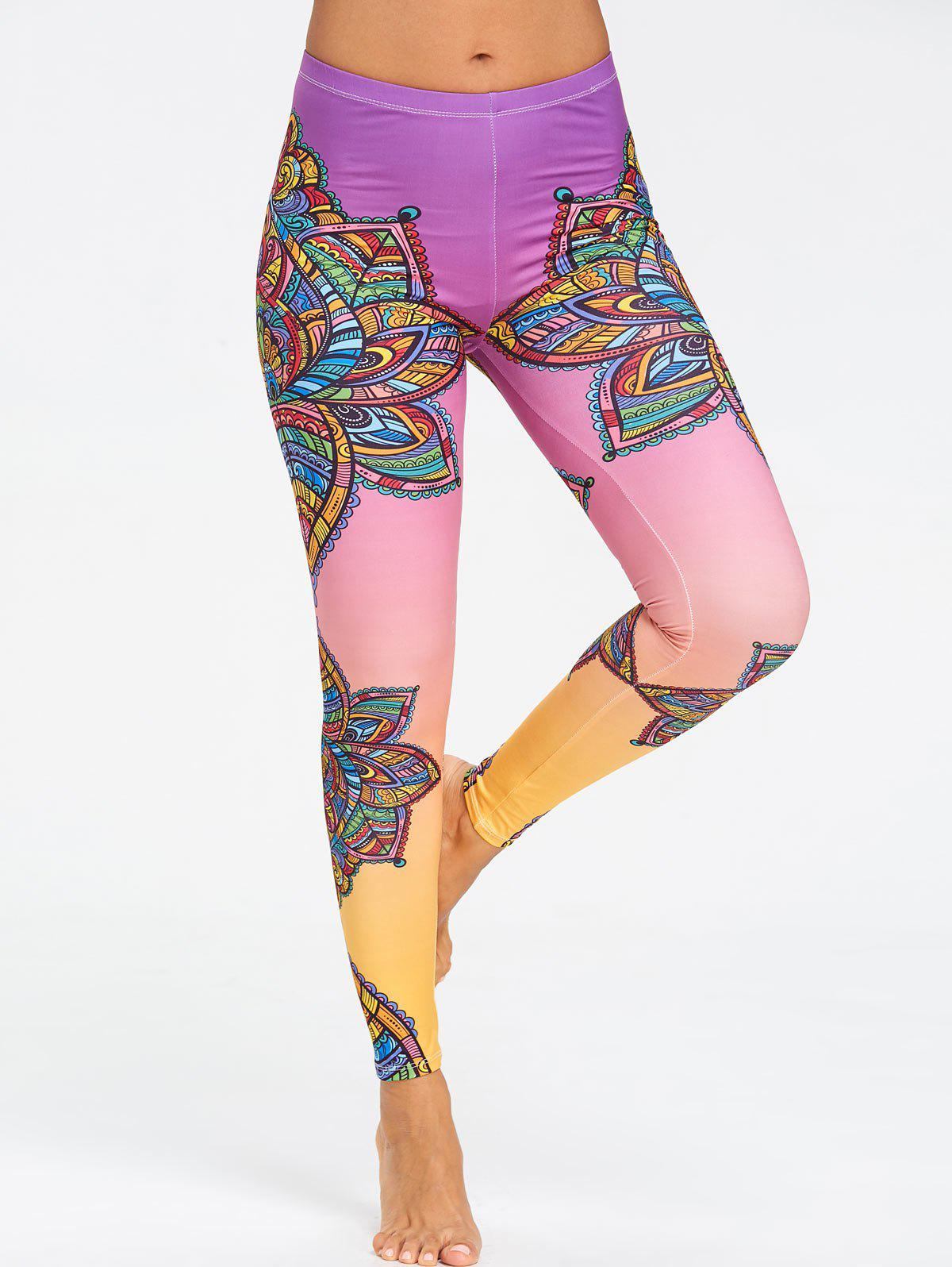 Mandalay Floral Printed Ombre Yoga Leggings - FLORAL XL
