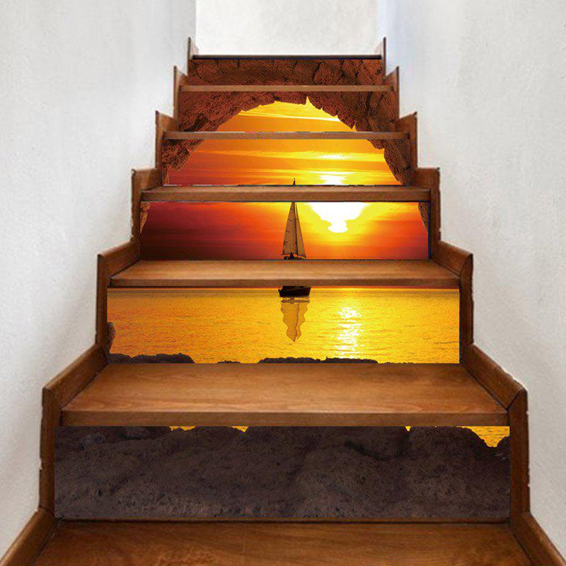 Sunset Sailboat Print Decorative Stair Stickers - COLORMIX 100*18CM*6PCS