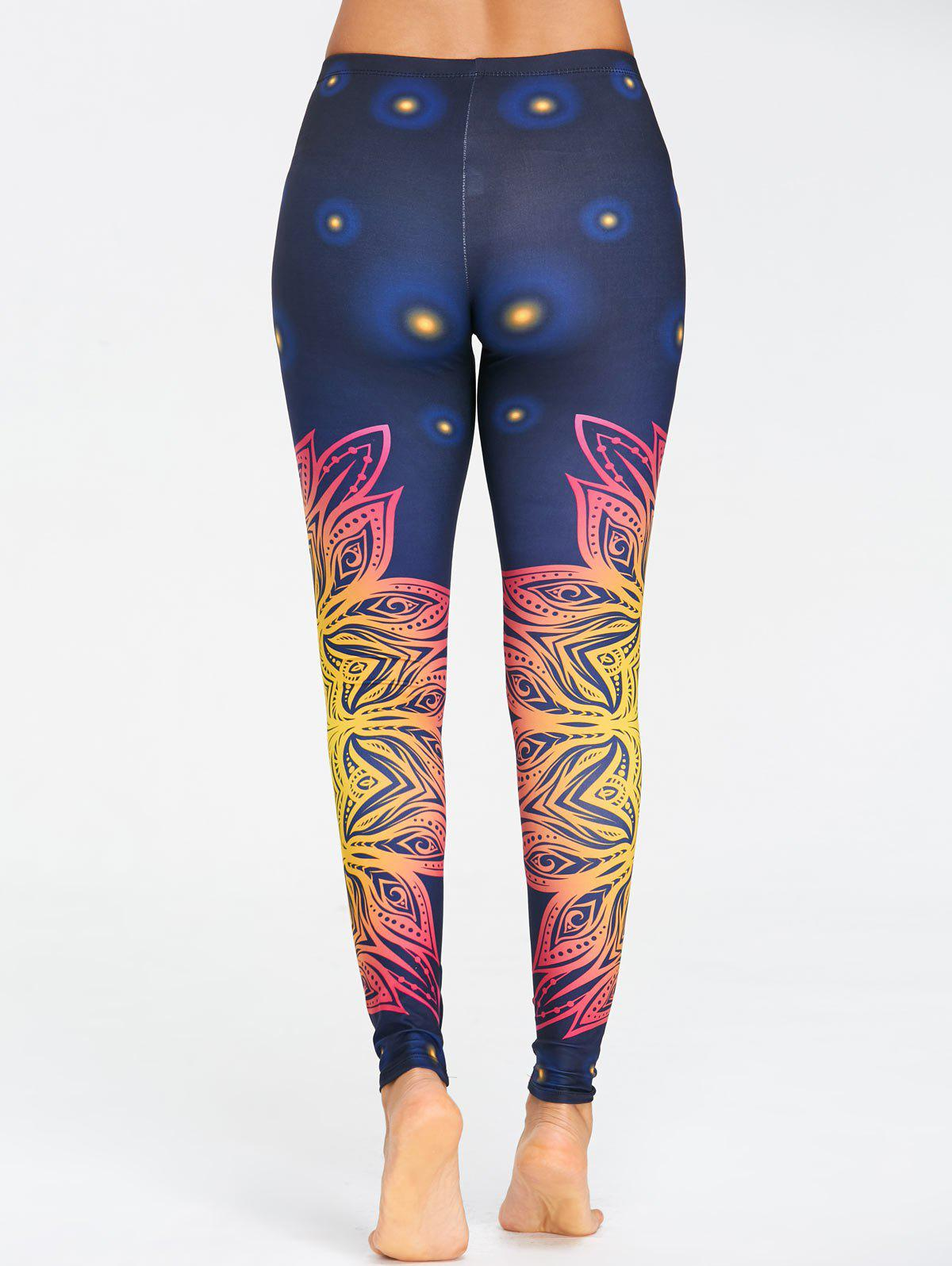 Yoga Floral Print Ombre Leggings - COLORFUL XL