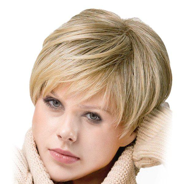 Inclined Bang Short Colormix Straight Synthetic Wig short pixie cut capless straight inclined bang synthetic wig
