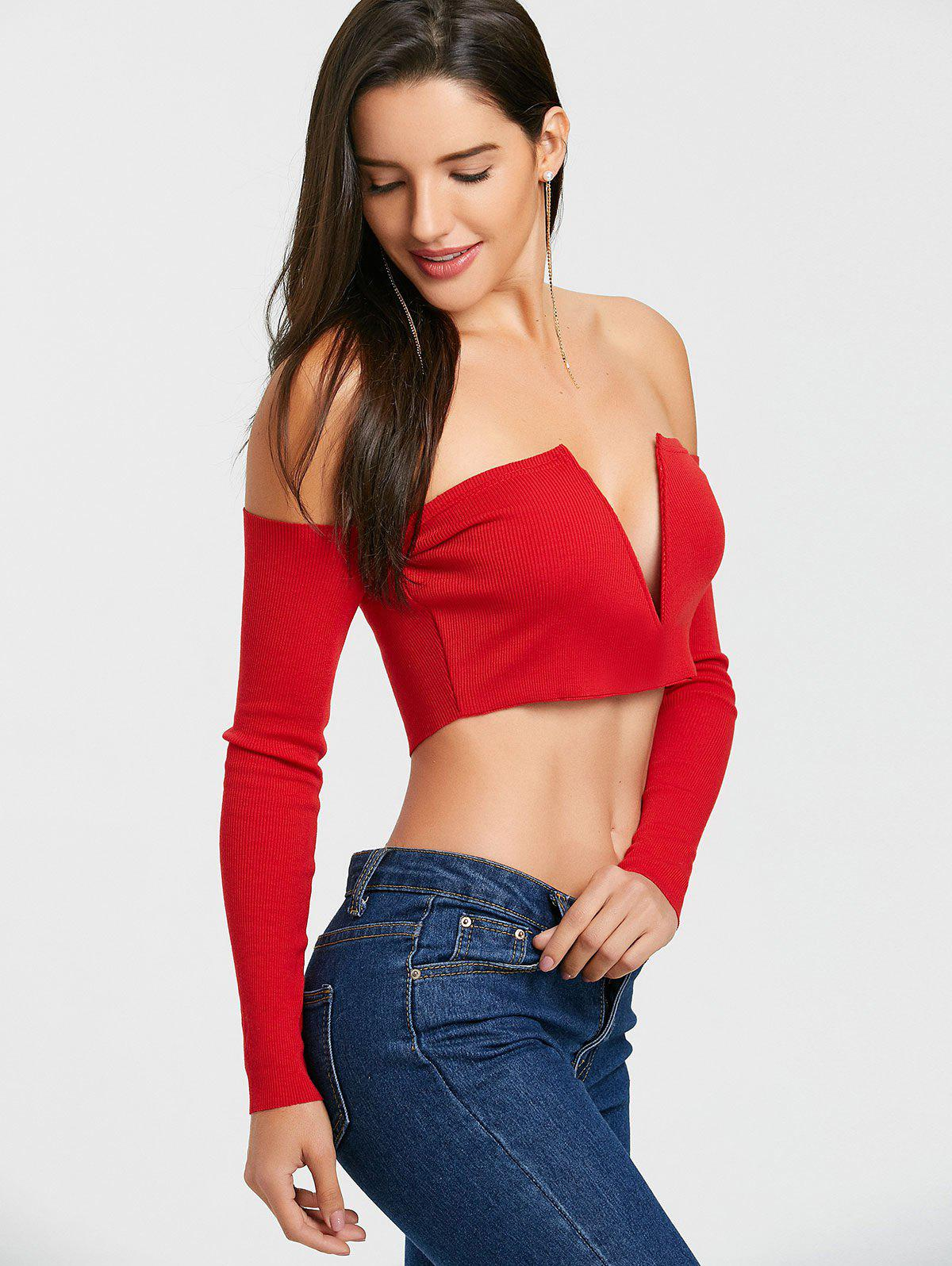 Long Sleeve V Cut Strapless Crop Top - RED M