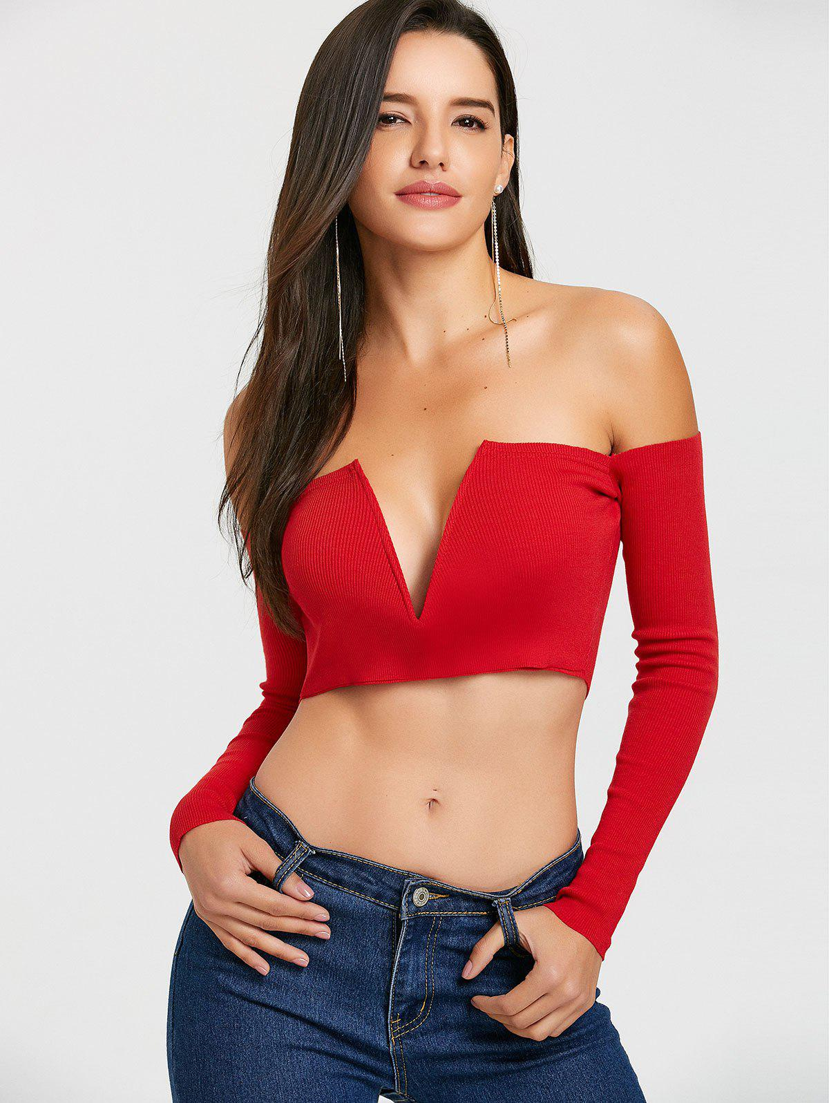 Long Sleeve V Cut Strapless Crop Top - RED L