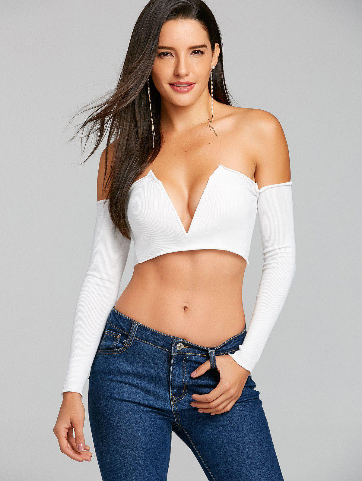 Long Sleeve V Cut Strapless Crop Top - WHITE M