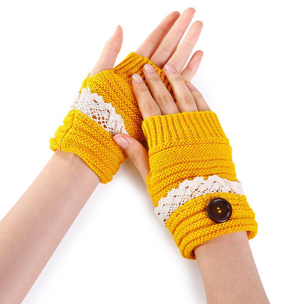 Button Decorated Lace Edge Knitted Exposed Finger Gloves - YELLOW