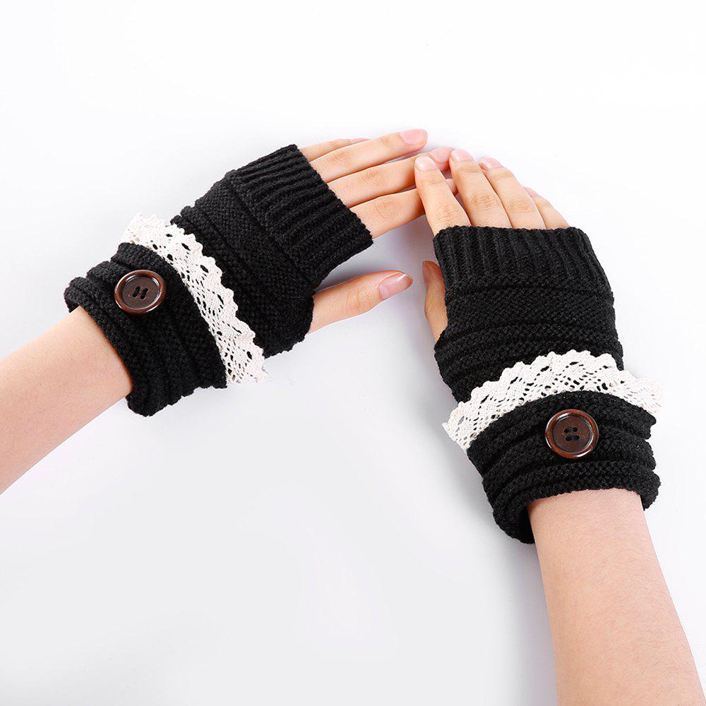 Button Decorated Lace Edge Knitted Exposed Finger Gloves - BLACK