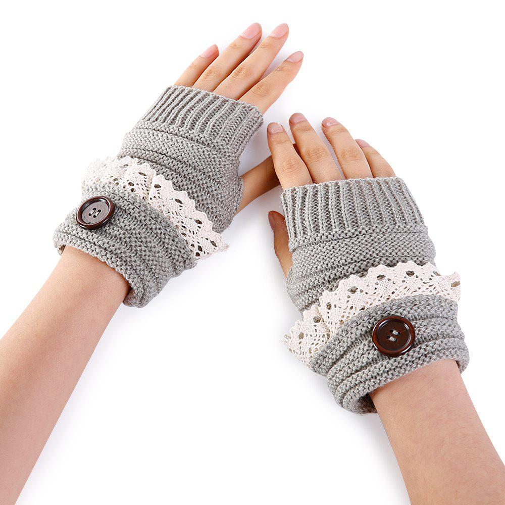 Button Decorated Lace Edge Knitted Exposed Finger Gloves - LIGHT GREY