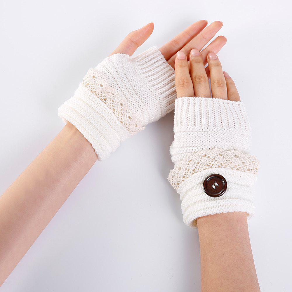 Button Decorated Lace Edge Knitted Exposed Finger Gloves - WHITE