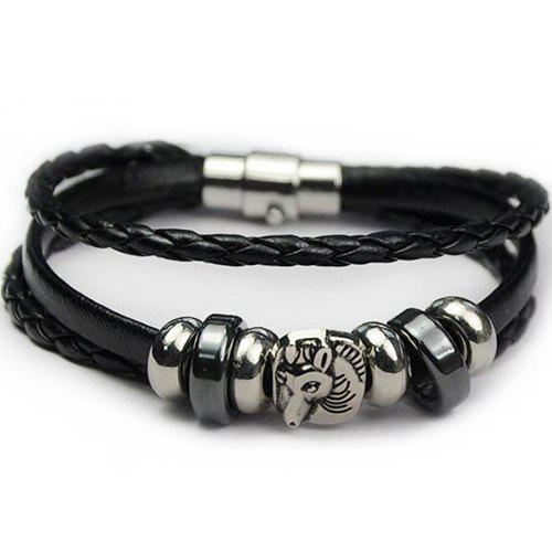 Faux Leather Horse Braid Rope Bracelet - BLACK