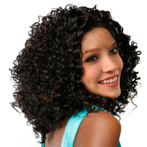 Medium Inclined Bang Fluffy Colormix Afro Kinky Curly Synthetic Wig - BLACK/BROWN